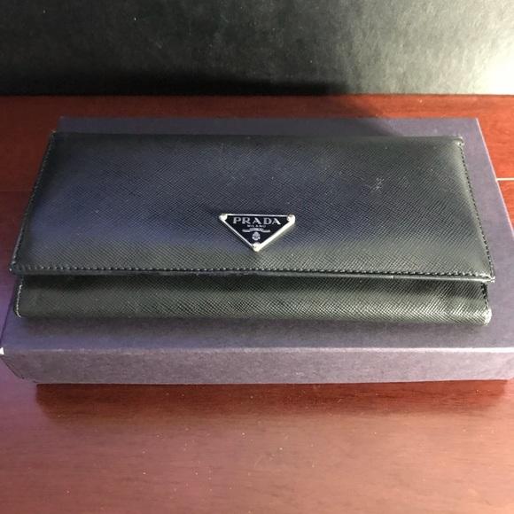 2f5e72e3 Black Prada Bi-Fold Saffiano Leather Long Wallet